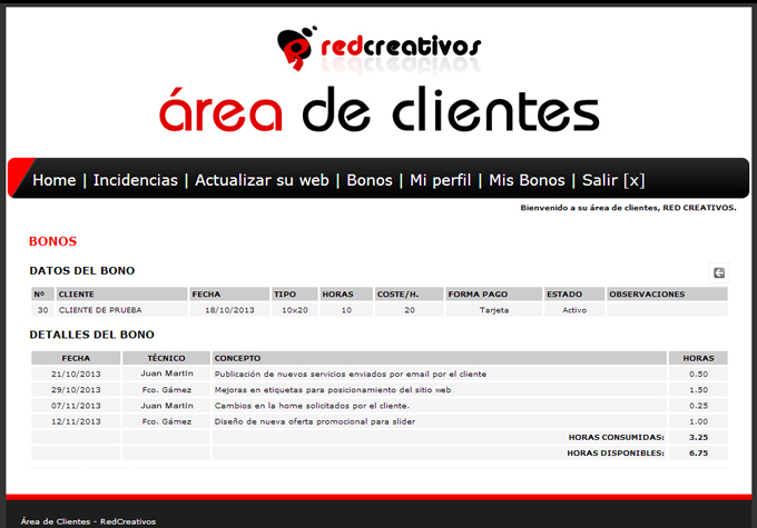 bonos mantenimiento web RED Creativos
